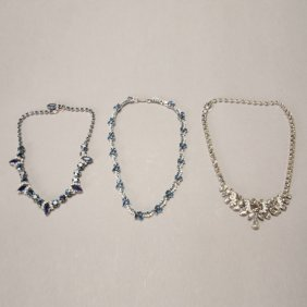 Three Rhinestone And Colored Stone Necklaces