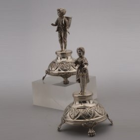 Pair Continental Silver Figural Toothpick Holders