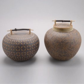 Two Larry Richmond Hoopa Inspired Ceramic Jars