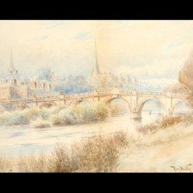 "Henry Walton ""Cityscape"" Watercolor"