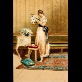 "Polodori ""Portrait Of A Woman"" Watercolor"