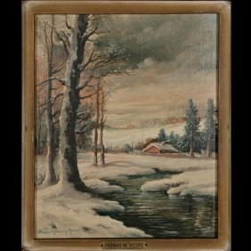 Thomas Manning Moore Oil, Smow Scene, Signed