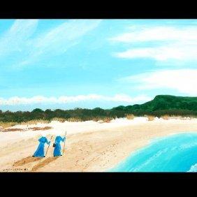 """V Bergeron """"2 Nuns On Beach"""" Acrylic"""