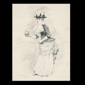 """Jean Beraud """"Elegante Au Des Gants"""" Ink Drawing"""