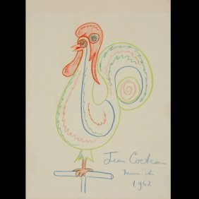 JEAN COCTEAU  Untitled,  Colored Pencil Drawing