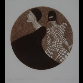 "Guillaume Azoulay ""L'Assassinat De Pierrot"" Etching"