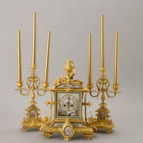 Louis XV Style Bronze Porcelain 3 Pc. Clock Set