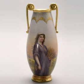 Royal Vienna Urn Featuring Ruth In The Cornfield