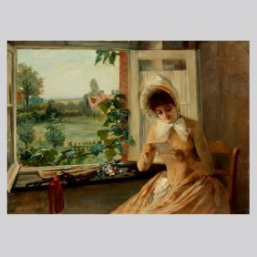 "EL DUTAND  ""Lady At The Window""  Oil On Canvas."