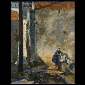 Tom Hughes, European Courtyard, Signed Oil