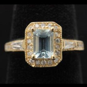 AQUAMARINE, DIAMOND, 14K YELLOW GOLD RING.