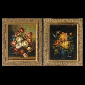 VALENTI  Two Oils Of Floral Still Lifes