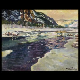 "JOHAN ASP  ""Glacial Melting, 1914""   Oil"