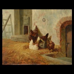 "Elchanon Verveer ""Chickens"" Oil"