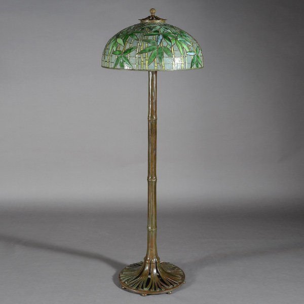 Tiffany studios bamboo floor lamp lot 3226 for Tiffany bamboo floor lamp