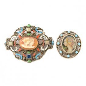 Collection Of Two Shell Cameo, Painted Portrait