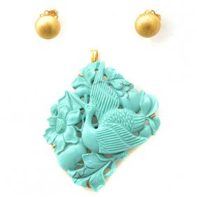 Asian Turquoise, Yellow Gold Jewelry Suite.