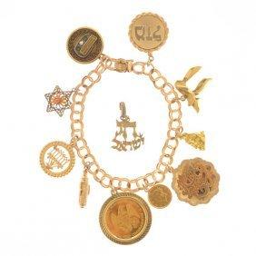 Diamond, 14k Yellow Gold, Metal Charm Bracelet.