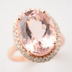 Morganite, Diamond, 14k Rose Gold Ring.