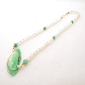 Jade, Chalcedony, Seed Pearl, Vermeil Necklace.