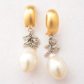 Pair Of Cultured Pearl, Diamond, Platinum, 14 Yellow
