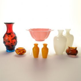 Eight Chinese Glass Vessels