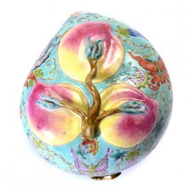 A Famille Rose Peach Form Box, Late 19th/early 20th