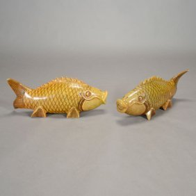 A Pair Of Carved Stone Koi Fish