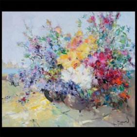"Ingfried Paul Henze Morro ""floral"" Oil On Canvas"