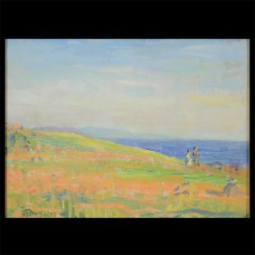"Joseph Sacks ""couple Walking On The Coast"" Oil"
