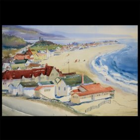 "Arthur Riley ""beach Scene"" Watercolor."