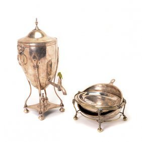 Silver Plated Hot Water Urn And Egg Form Server