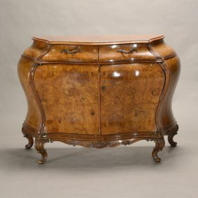 Venetian Rococo Style Burl Walnut Veneered Bombe Chest