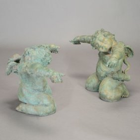 Pair Of Patinated Bronze Figural Cherub Form Table