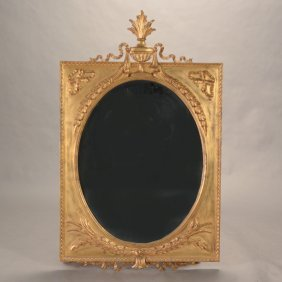 Neoclassical Style Oval Gilt Framed Mirror