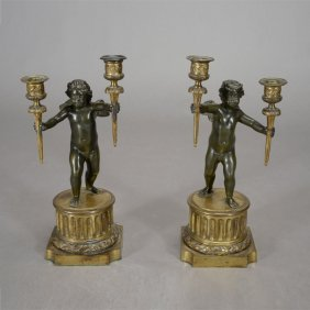 Pair Louis Xvi Style Bronze Figural Two Light