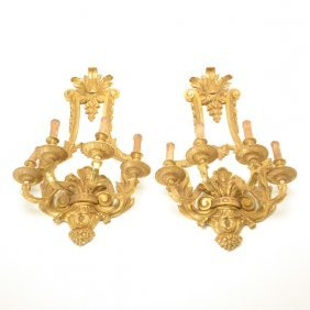 Pair Of Regence Style Gilt Bronze Four Light Sconces
