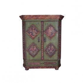 Northern European Polychrome Painted Two Door Armoire