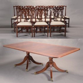 Federal Style Twin Pedestal Extension Dining Table With