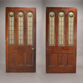 Large Pair Of Green Painted Doors With Leaded Glass