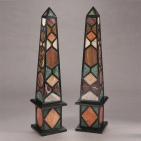 Pair Of Grand Tour Style Specimen Marble Obelisks