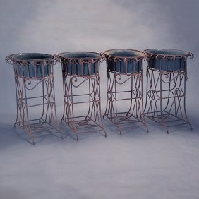 Set Of Four Victorian Style Wrought Iron Standing