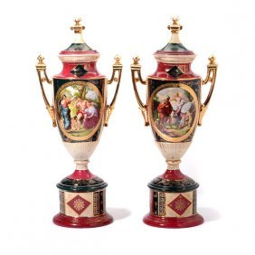 Pair Of Royal Vienna Style Porcelain Urns