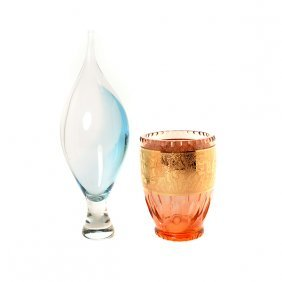 Moser Glass Vase And A Modern Glass Vase