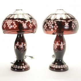Pair Of Contemporary Purple Flashed Glass Table Lamps