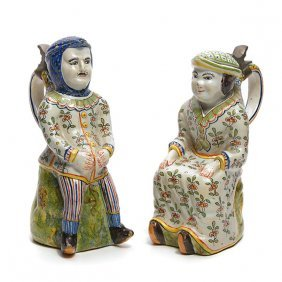 Matched Pair Of French Faience Figural Steins