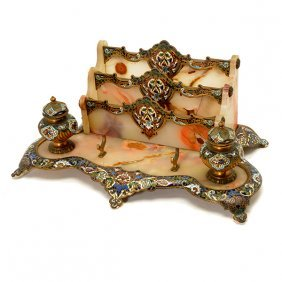 French Champleve Enamel CloisonnÈ Agate Desk Stand