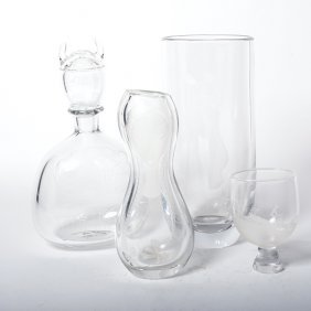 Swedish Orrefors Sven Palmqvist Glass Decanter, Vase,