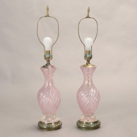 Pair Of Alfredo Barbini Murano Glass Table Lamps