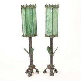 Pair Of Arts & Crafts Style Wrought Iron Lamps With